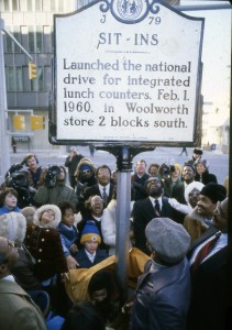 Gathering at Sit-In Sign