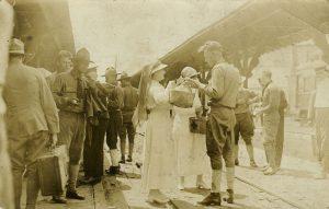 Red Cross at Greensboro train station circa 1917