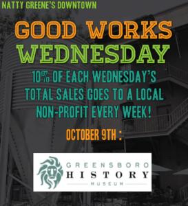 Natty Greenes Good Works Wednesday Oct 9 2019