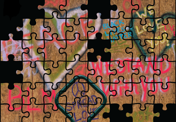 Black Lives Matter Mural in puzzle pieces