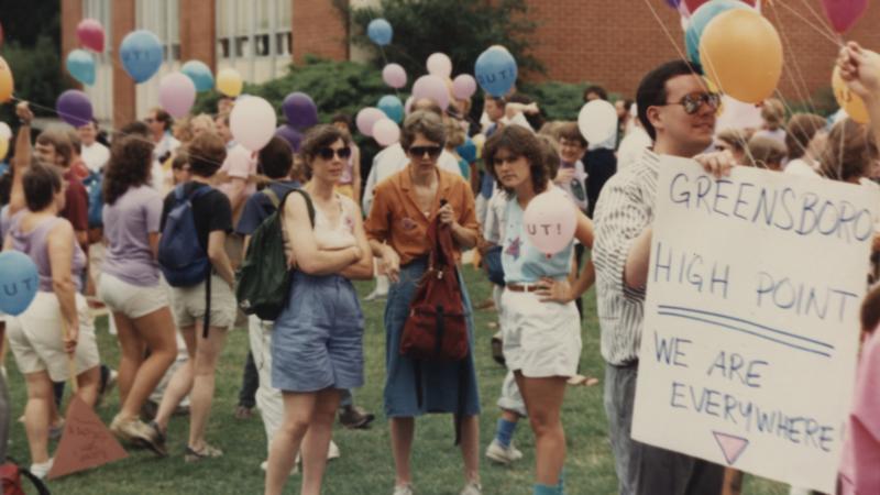 People gathered at PRIDE celebration, 1988