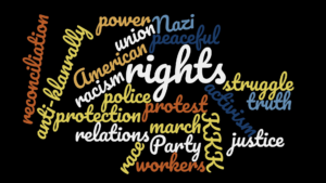 Word cloud including rights, struggle, justice, reconciliation and other terms